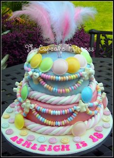 Two tier chocolate and vanilla fondant covered cake decorated with retro sweets for my goddaughter's 18th.
