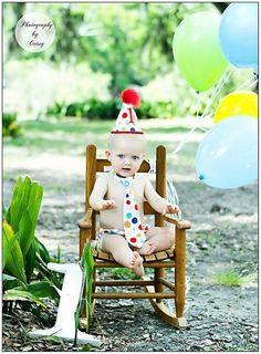 Baby boy / Toddler Cake Smash Birthday Outfit including a necktie diaper cover  party hat in Primary Polka Dot. $39.85 USD, via Etsy.