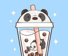 super cute we bare bears doodle! I love the panda themed boba tea, it's too kawaii! super cute we bare bears doodle! I love the panda themed boba tea, it's too kawaii! Cute Food Drawings, Cute Kawaii Drawings, Kawaii Doodles, Cute Doodles, Cute Animal Drawings, Cartoon Drawings, Cartoon Art, Logo Cartoon, Cartoon Characters