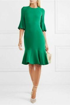 Dolce & Gabbana - Ruffled cady dress in 2020 Simple Dresses, Casual Dresses, Short Dresses, Fashion Dresses, Winter Dresses, Day Dresses, Summer Dresses, Ruffle Dress, Dress Up