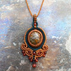 Jasper and Fire Agate Baroque Pendant – Collier West