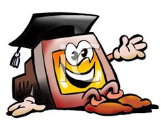 iCLIPART - Royalty Free Clipart Image of a Computer Wearing a Mortarboard