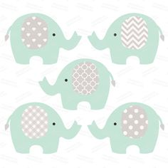 Premium Elephant Clipart & Digital Papers Mint And by AmandaIlkov