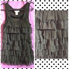 Tank Top! Super cute tank top that has lace(y) Ruffles on the front and the back has no ruffles but has lace! Adorable tank! Wet Seal Tops Tank Tops