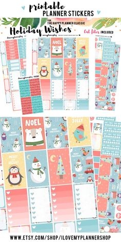 Christmas Happy Planner printable stickers. Planner sticker printables for The Happy Planner. December weekly kit. Includes free glitter headers and Silhouette cut files.