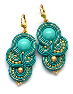 Soutache statement teal gold earrings orecchini by SaboDesign
