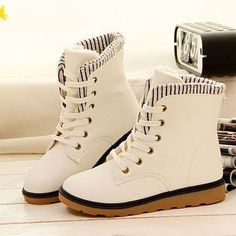Ankle  Leather Winter Boots
