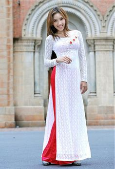 White Ao dai with colored pants