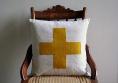 Swiss Cross Throw Pillow Cover Sassy Stiches by Lori on Etsy $38