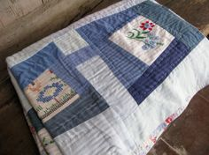 Blue linen and hand embroidered vintage fabric by LeilaBadblood