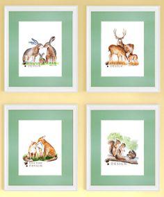 "Woodland Decor Nursery Art for Baby Room - Bunnies, Deer, Fox, Squirrels - Watercolor Giclee Prints - 8.5"" x 11"" on Etsy, $63.00"