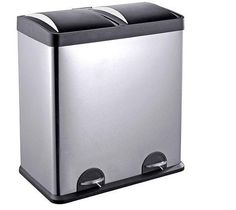 Trash Can Recycling Bins Combo Dual Compartment Stainless Steel 16 Gallon Step #TrashCan