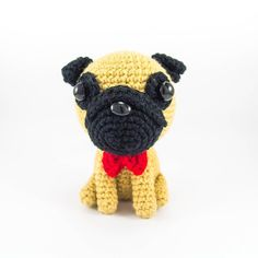 Pug with Bowtie Amigurumi Crochet. This cute pug amigurumi is made from 100% acrylic yarn, polyester fill and safety eyes in a smoke-free and cat friendly home. It measures about 8.3cmcm/3.3in tall and 5.2cm/2.1in wide. Please allow about 2 weeks for this pug to be made. Due to its handmade nature, there may be slight variations from the pictures. There may also be slight variations to the colors due to screen settings. Please note that this listing is for 1 pug only.