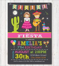 Mexican Fiesta Birthday Invitation Fiesta Invite Mexican