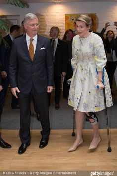 King Philippe of Belgium and Queen Mathilde of Belgium visit the RTBF (Radio Télévision Belge Francophone) studio on March 19, 2015 in Brussels, Belgium.