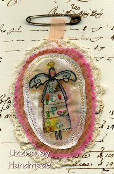 Brooch stamping and stitchery with angel by lizziebusyhandmade, $10.00