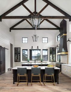 Exposed ceiling trusses will add an inviting element to any room in your home... get some amazing ideas! Kitchen And Bath Design, Bathroom Design Small, Kitchen Modern, Country Kitchen, Colorado Homes, Stone Houses, Custom Cabinetry, Ceiling Design, Living Room Designs