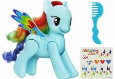 My Little Pony Flip n Whirl Rainbow Dash The adventurous personality of Rainbow Dash comes to life through new features! Watch her do tricks like no other Pony. She speaks fun phrases and when put into a seated position she springs up and in http://www.comparestoreprices.co.uk/childs-toys/my-little-pony-flip-n-whirl-rainbow-dash.asp