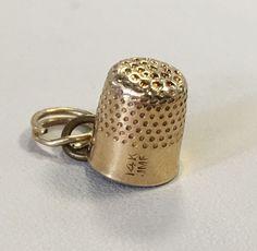 14K Yellow Gold Thimble Charm Pendant