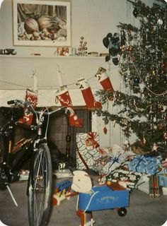 "Vintage Photo ""Santa Was Here"" Toy Christmas Tree Snapshot Old Antique Photo…"
