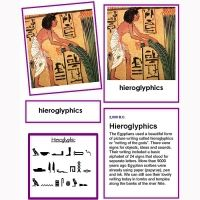 History of Writing Four Part Cards, unlaminated. Includes unique photograph cards, alphabet cards, information cards, detail image cards, labels and controls for important historical writing from cave painting to modern writing.    Alphabets,images, text cards, labels and controls. History of writing chart showing history of alphabet. 70 cards in all. Printed on quality cardstock ready for you to trim and laminate.