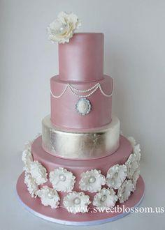 Dusty+pink+wedding+cake+-+Cake+by+Tatyana