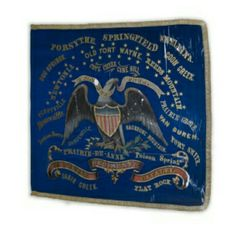 Regimental Color of the Second Kansas Cavalry--Perryville Battle Honor near the eagle's right wing (viewer's left). The Second Kansas Cavalry organized in October 1861. Originally intended as an infantry regiment, it was mustered in as cavalry the following spring. Among its recruits were many who had seen service in the Second Kansas Infantry, a 90-day regiment at the battle of Wilson's Creek. Because of this, battle honors from the infantry regiment are also included on the flag. This unit…