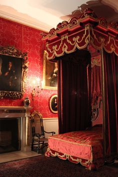 a red bedroom in Temple Newsam