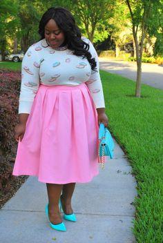 Musings of a Curvy Lady, Plus Size Fashion, Fashion Blogger, Bella Dream Hair, Cotton Candy, Pink, Midi Moment, XOQ, Eloquii, LC Lauren Conrad, Pastel