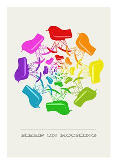 Eames poster print  Keep On Rocking 2  A3 Midcentury by yumalum, $29.00