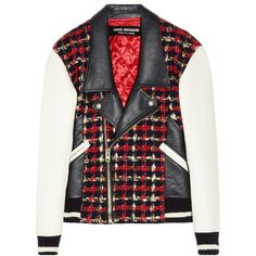Junya Watanabe Wool-blend tweed and faux leather biker jacket (1.755 BRL) ❤ liked on Polyvore featuring outerwear, jackets, tops, coats, red, red motorcycle jacket, tweed jacket, faux moto jacket, moto jacket and bubble jacket