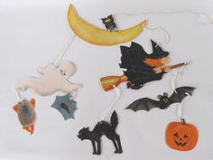 Vintage Halloween Mobile Decoration Witch by ThoughtfulVintage