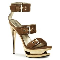 The features for these heels include a faux suede upper in a strappy design with buckle accents and grommet detailing, open toe, chrome carved platform and heel, smooth lining, and cushioned footbed. Approximately 6 inch heels and 1 inch platforms. Hot High Heels, Platform High Heels, Sexy Heels, Nice Heels, Pretty Heels, Prom Heels, Hot Shoes, Shoes Heels, Dress Shoes