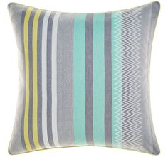 This tribal inspired weave in cool greys, yellow and aqua is a fresh look for a summer bedroom. Quilt Cover Sets, Manchester, Master Bedroom, Pillow Cases, Turquoise, Quilts, Pillows, Lifestyle, Cool Stuff