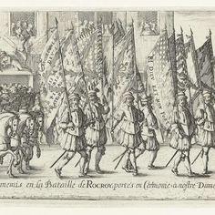 Optocht met de Spaanse vaandels buitgemaakt in de slag bij Rocroi, 1643, Nicolas Cochin, 1643 - Rijksmuseum
