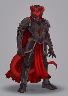 [OC] I had my Tiefling Paladin commissioned. Meet Dartanian Bloodthane.