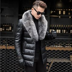 Analytical Winter Mens Duck Down Jacket Leather Overcoat Male Fashion Warm Wear Real Rabbit Fur Collar Slim Thickening Snow Jackets Man Jackets & Coats Down Jackets