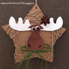 Una estrella de cartón, por Navidad - A star of cardboard, for Christmas - pour… Noel Christmas, Simple Christmas, Winter Christmas, Christmas Ornaments, Christmas Activities, Christmas Crafts For Kids, Holiday Crafts, Moose Crafts, Ideias Diy