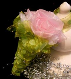 Tussie Mussie made with sheer ribbons and corsage pins. Easy but makes a big statement.