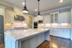 colonial white granite, floor color, grey island, cabinet doors