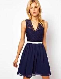 short navy bridesmaid dress with lace, short lace bridesmaid dress