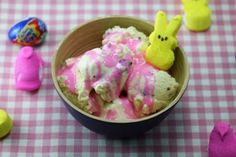 Cadbury Creme Egg Ice Cream with Peeps Syrup