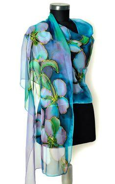 Hand painted silk chiffon scarf/Woman Long Scarf/Blue
