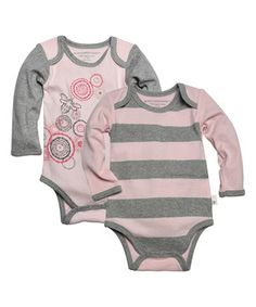 Another great find on #zulily! Blossom Spiral Bee & Rugby Stripe Organic Bodysuit Set - Infant by Burt's Bees Baby #zulilyfinds