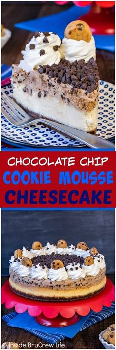 Chocolate Chip Cookie Mousse Cheesecake - layers of creamy cheesecake, cookie mousse, and chocolate chips makes a delicious dessert. Great recipe to share after any meal! #cheesecake #chocolatechip #cookie