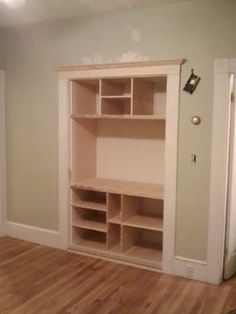 Desk Built Into Closet closet space turned into a built in entertainment center. | for