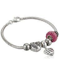 """Sterling Silver Crystal """"Love"""" and """"Family"""" Charm Bracelet - $65.20 - $67.57  www.jewelryandwatches.co.za"""