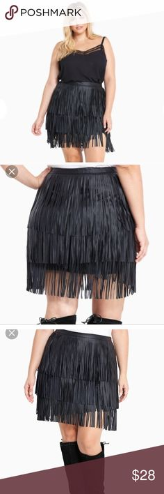 Faux Leather Fringe Skirt 20 Really fun and fabulous black photo leather fringe skirt!!!! torrid Skirts Mini