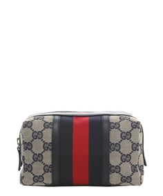 59a38b497774 Gucci blue and tan GG printed nylon and leather trim cosmetic case Cosmetic  Case, Louis