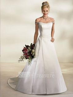White Off-The-Shoulder A-line Beading Court Train Satin Wedding Dress for Bride